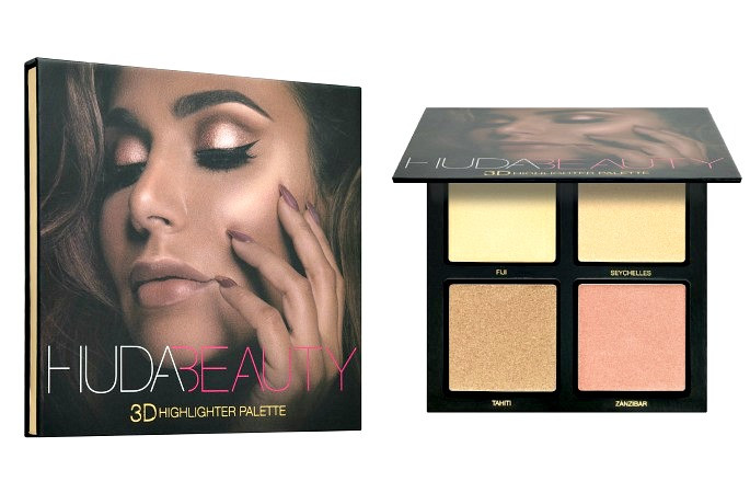 Палетка теней Huda Beauty 3D Highlighter Palette, 4 цвета