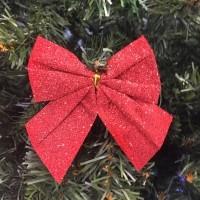 Новогоднее украшение Блестящие бантики, 3 шт (Цвет: Голубой )
