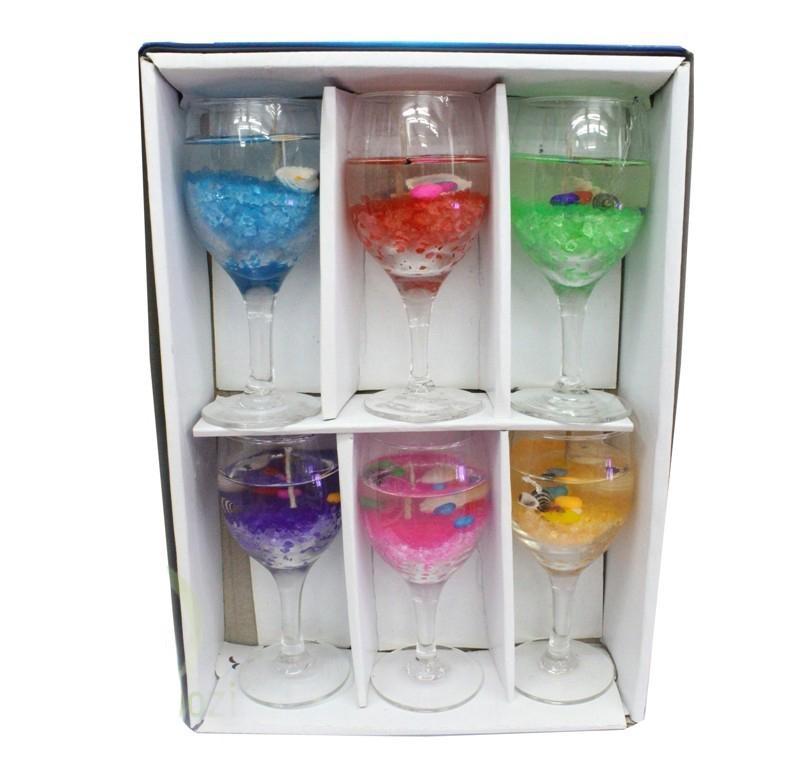 Подарочный набор Гелевые свечи в фужерах 5х14 см, 6 шт