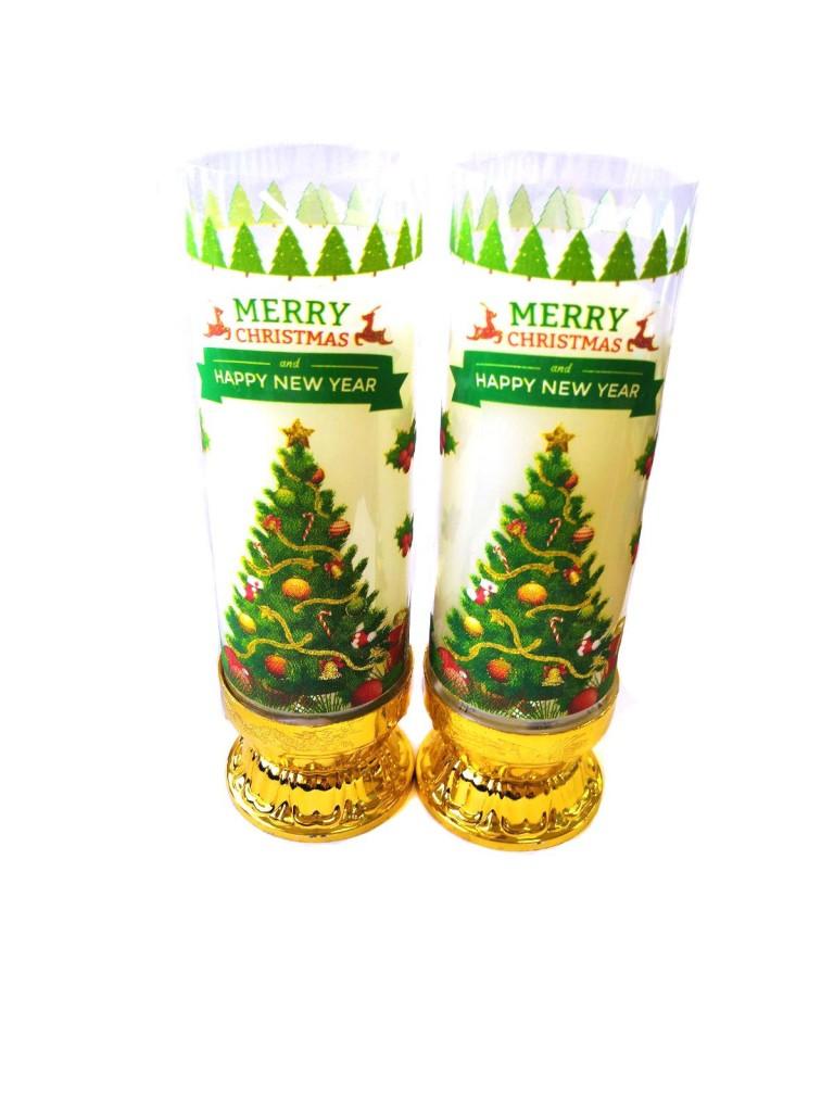 Рождественские свечи в граале 18 см, 2 шт (Цвет: Белый , Вид: Санта)