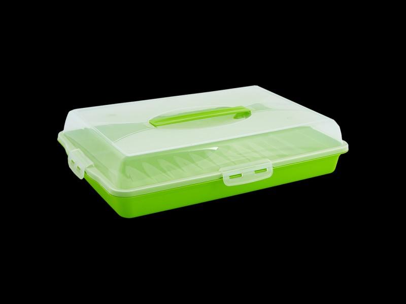 Прямоугольная бутербродница-тортовница,44х30х9.5 см (Цвет: Оливковый )