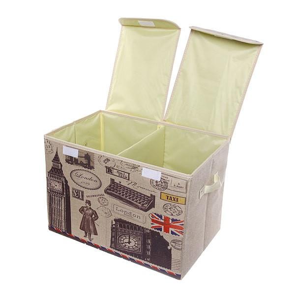 Двухсекционный складной короб для хранения Биг-Бен, 47х31х34 см (Вид: С розой )