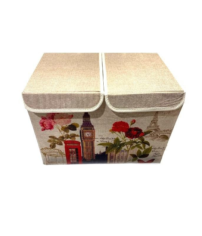 Двухсекционный складной короб для хранения Биг-Бен, 47х31х34 см (Вид: С печатной машинкой )