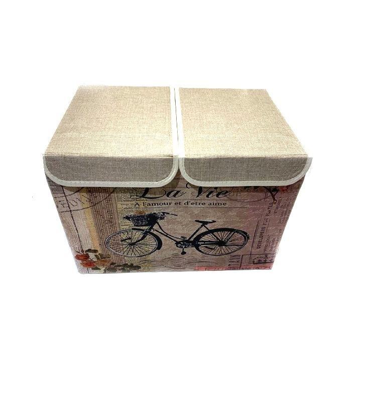 Двухсекционный складной короб для хранения Париж, 47х31х34 см (Вид: Эйфелева башня и букет цветов )