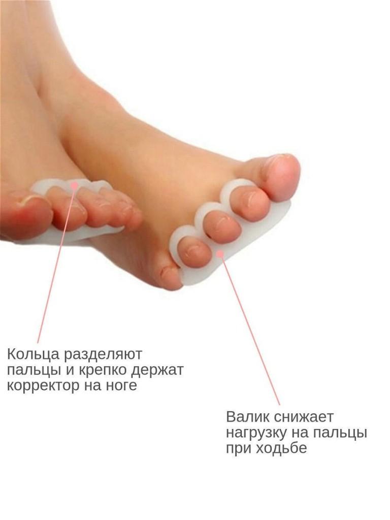 Разгружающий гелевый вкладыш под пальцы стоп с тремя фиксирующими кольцами, 2 шт