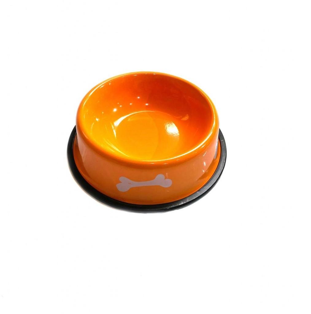 Металлическая миска с прорезиненным основанием Косточки, 300 мл (Цвет: Красный )