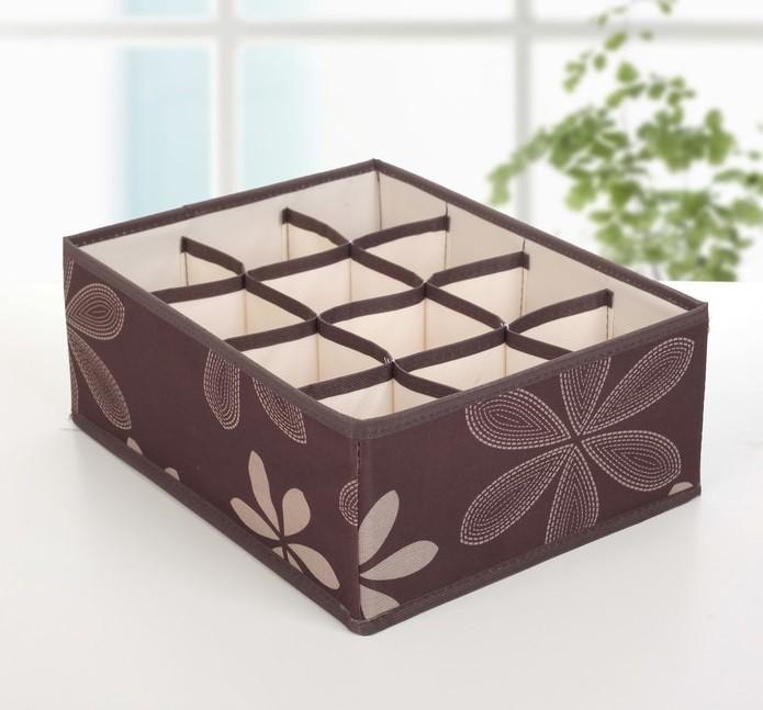 Короб для хранения с крышкой и 12-ю ячейками, 30х20х11 см (Цвет: Коричневый )