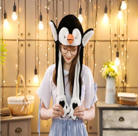 Светодиодная шапка с подвижными ушками Пингвин (Цвет: Чёрный )