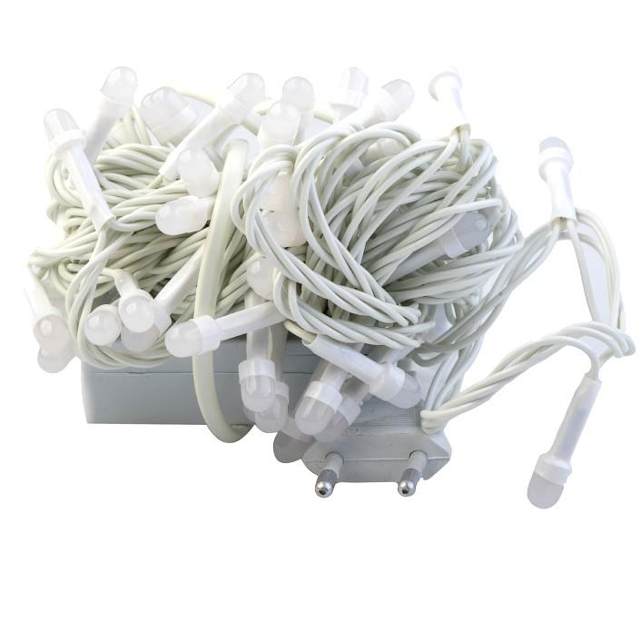 Электрическая гирлянда-нить с белым проводом Минишар, 50 ламп 5 м (Цвет свечения: Белый холодный )