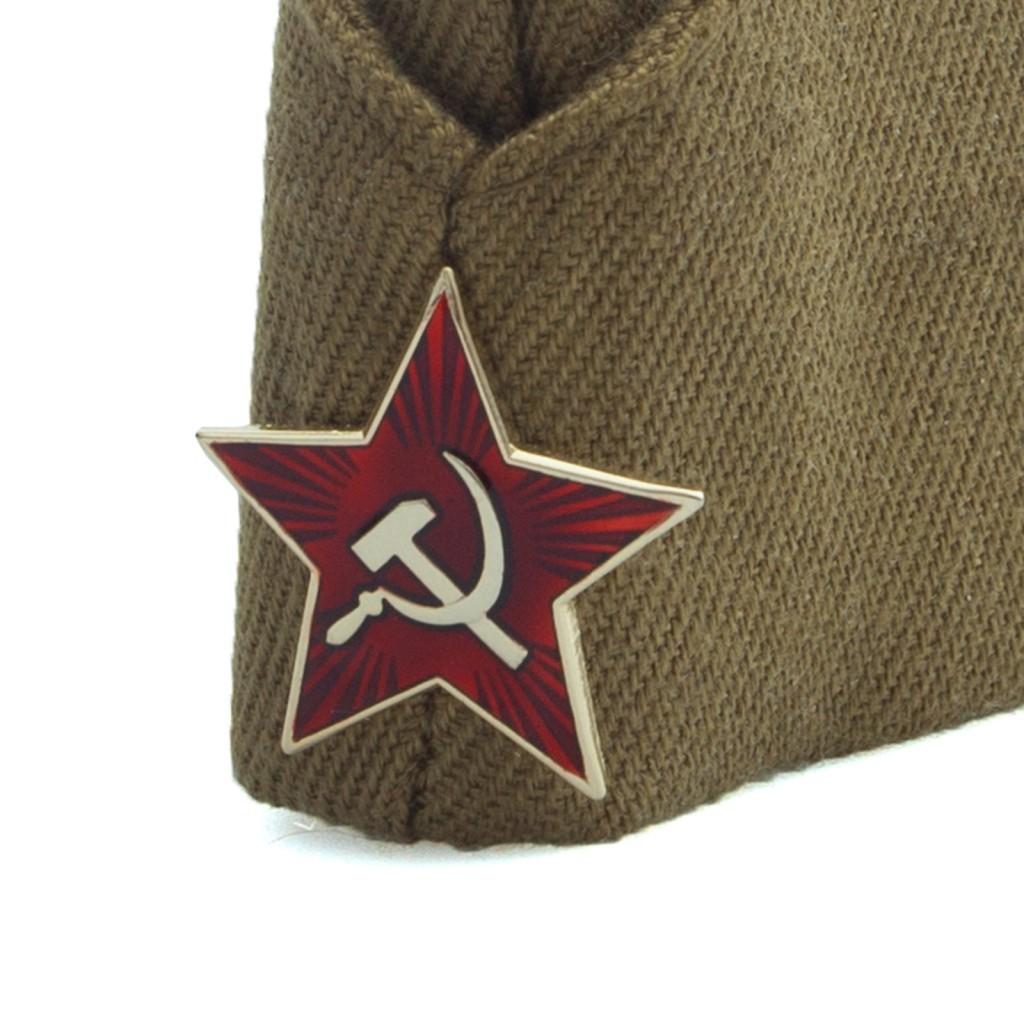 Военная пилотка со звездой + георгиевская лента в подарок, 10 шт (Размер: 55 см )