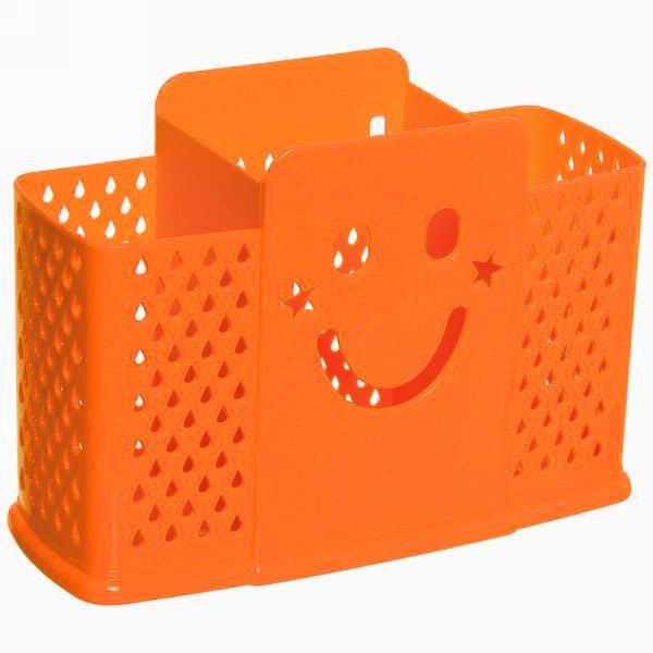 Подставка для сушки столовых приборов на 3 секции со смайликом (Цвет: Оранжевый )