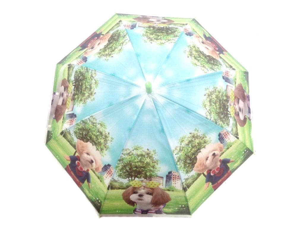 Детский виниловый зонтик с щенятами (Цвет: Голубой )